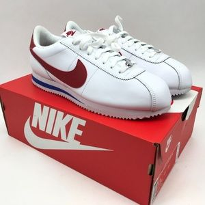 Nike Cortez Basic Leather OG White Red Blue Sz 9